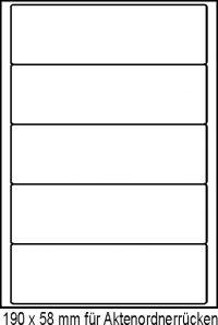 Haftetiketten 190x58mm auf A4-Bogen für Aktenordner